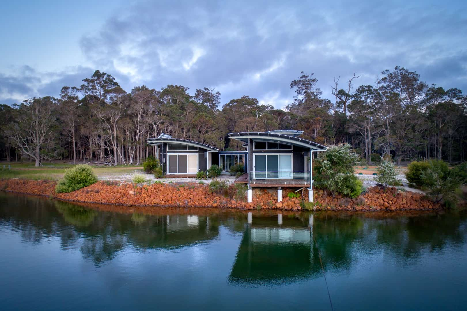 An off the grid lakehouse designed by Theo Mathews Architect near Dunsborough Western Australia